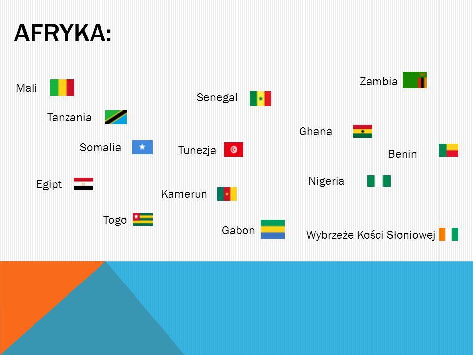 AFRYKA: Mali Somalia Senegal Nigeria Ghana Togo Tunezja Zambia Gabon Egipt Kamerun Wybrzeże Kości Słoniowej Tanzania Benin
