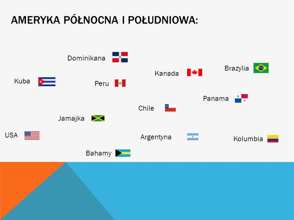 AMERYKA PÓŁNOCNA I POŁUDNIOWA: Kuba Kanada Jamajka Panama Argentyna Chile Peru Kolumbia Brazylia USA Dominikana Bahamy