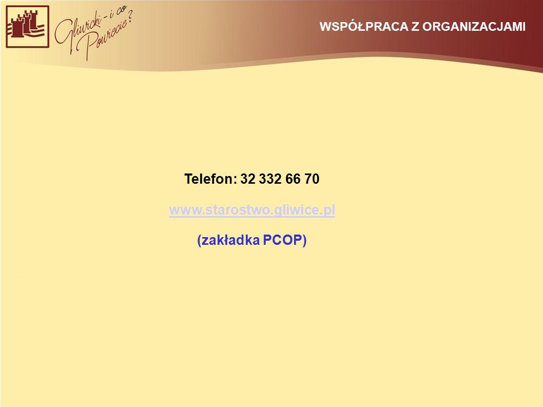 WSPÓŁPRACA Z ORGANIZACJAMI Telefon: 32 332 66 70 www.starostwo.gliwice.pl (zakładka PCOP).