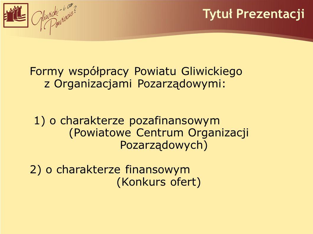 Tytuł Prezentacji Formy współpracy Powiatu Gliwickiego z Organizacjami Pozarządowymi: 1) o charakterze pozafinansowym (Powiatowe Centrum Organizacji Pozarządowych) 2) o charakterze finansowym (Konkurs ofert)