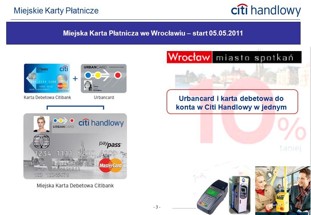 - 3 - Miejska Karta Płatnicza we Wrocławiu – start 05.05.2011 Urbancard i karta debetowa do konta w Citi Handlowy w jednym Miejskie Karty Płatnicze