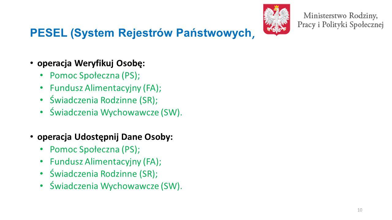 PESEL (System Rejestrów Państwowych) operacja Weryfikuj Osobę: Pomoc Społeczna (PS); Fundusz Alimentacyjny (FA); Świadczenia Rodzinne (SR); Świadczenia Wychowawcze (SW).