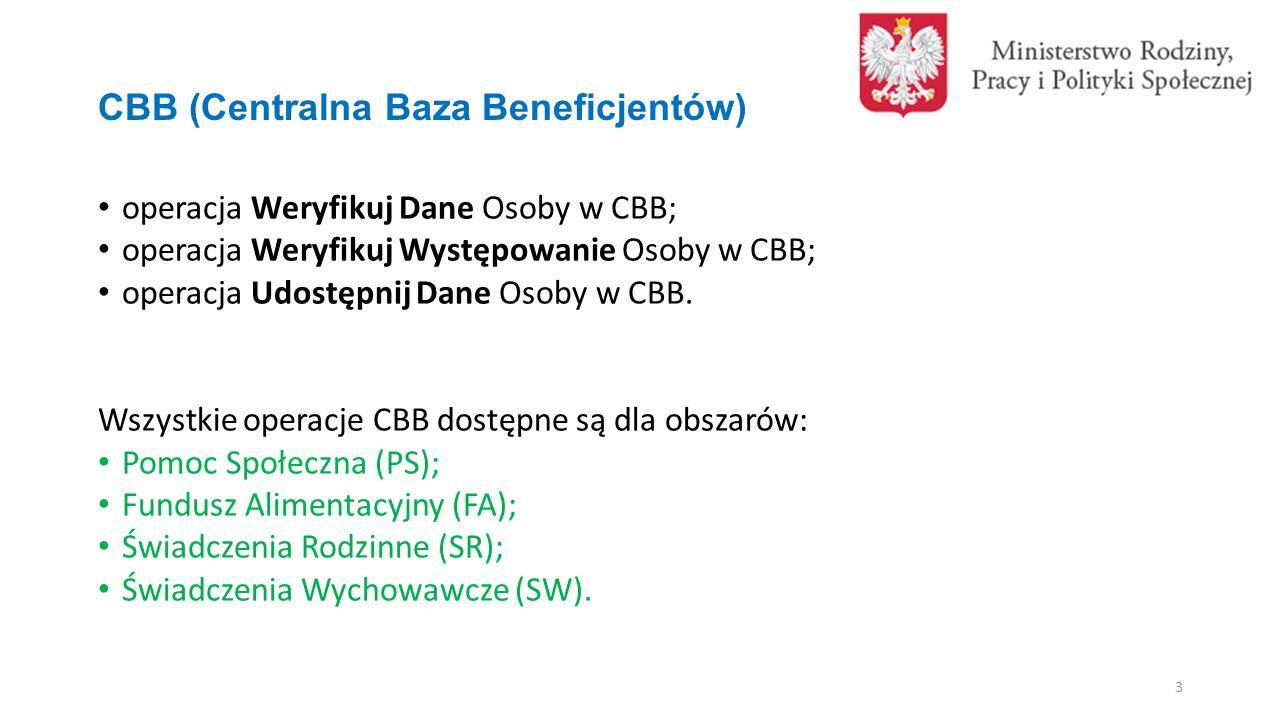 CBB (Centralna Baza Beneficjentów) operacja Weryfikuj Dane Osoby w CBB; operacja Weryfikuj Występowanie Osoby w CBB; operacja Udostępnij Dane Osoby w CBB.