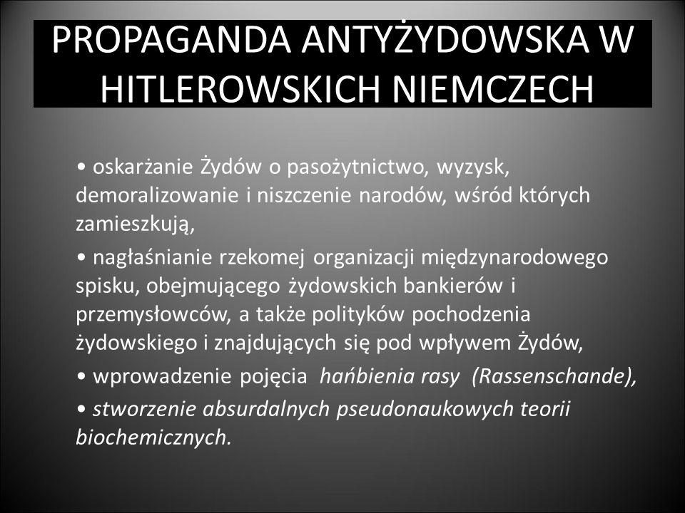 PROPAGANDA ANTYŻYDOWSKA W HITLEROWSKICH NIEMCZECH oskarżanie Żydów o pasożytnictwo, wyzysk, demoralizowanie i niszczenie narodów, wśród których zamies
