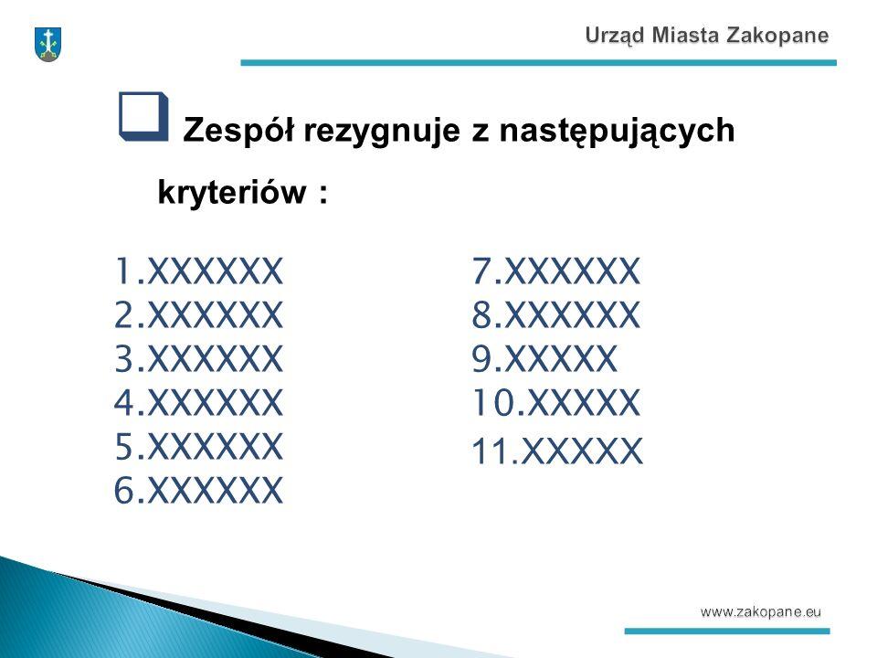  Zespół rezygnuje z następujących kryteriów : 1.XXXXXX 2.XXXXXX 3.XXXXXX 4.XXXXXX 5.XXXXXX 6.XXXXXX 7.XXXXXX 8.XXXXXX 9.XXXXX 10.XXXXX 11.XXXXX