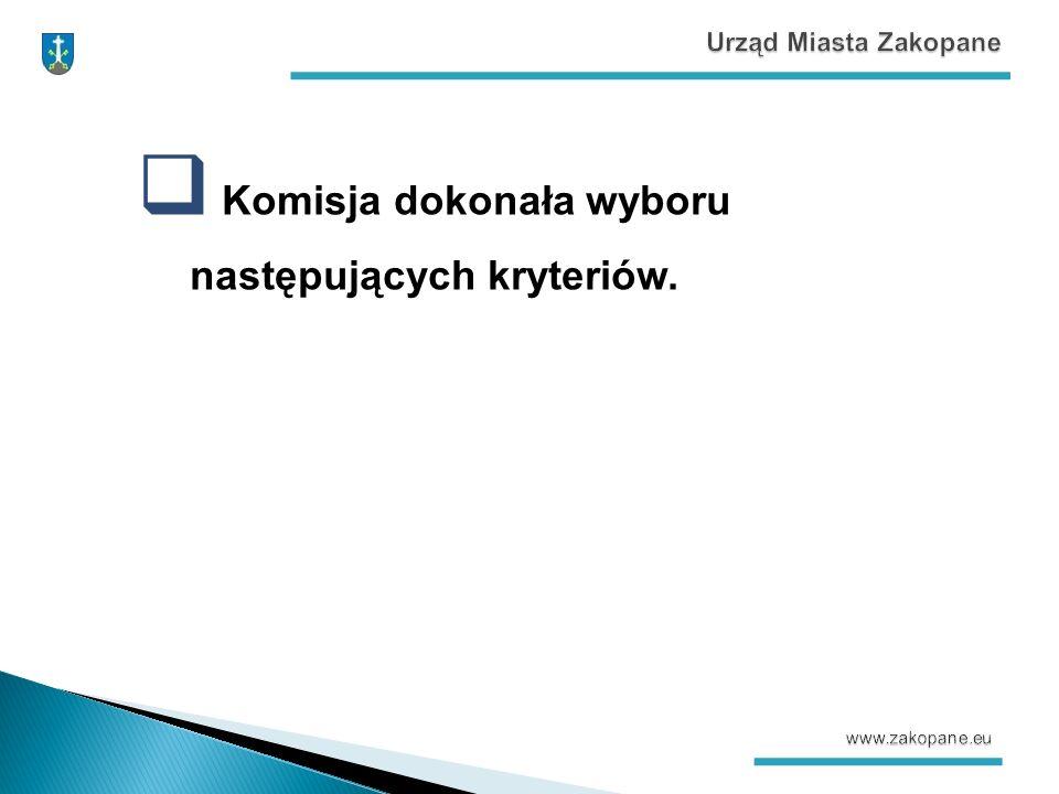  Komisja dokonała wyboru następujących kryteriów.