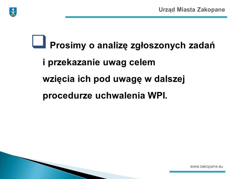  Prosimy o analizę zgłoszonych zadań i przekazanie uwag celem wzięcia ich pod uwagę w dalszej procedurze uchwalenia WPI.