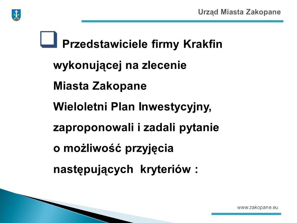  Przedstawiciele firmy Krakfin wykonującej na zlecenie Miasta Zakopane Wieloletni Plan Inwestycyjny, zaproponowali i zadali pytanie o możliwość przyjęcia następujących kryteriów :