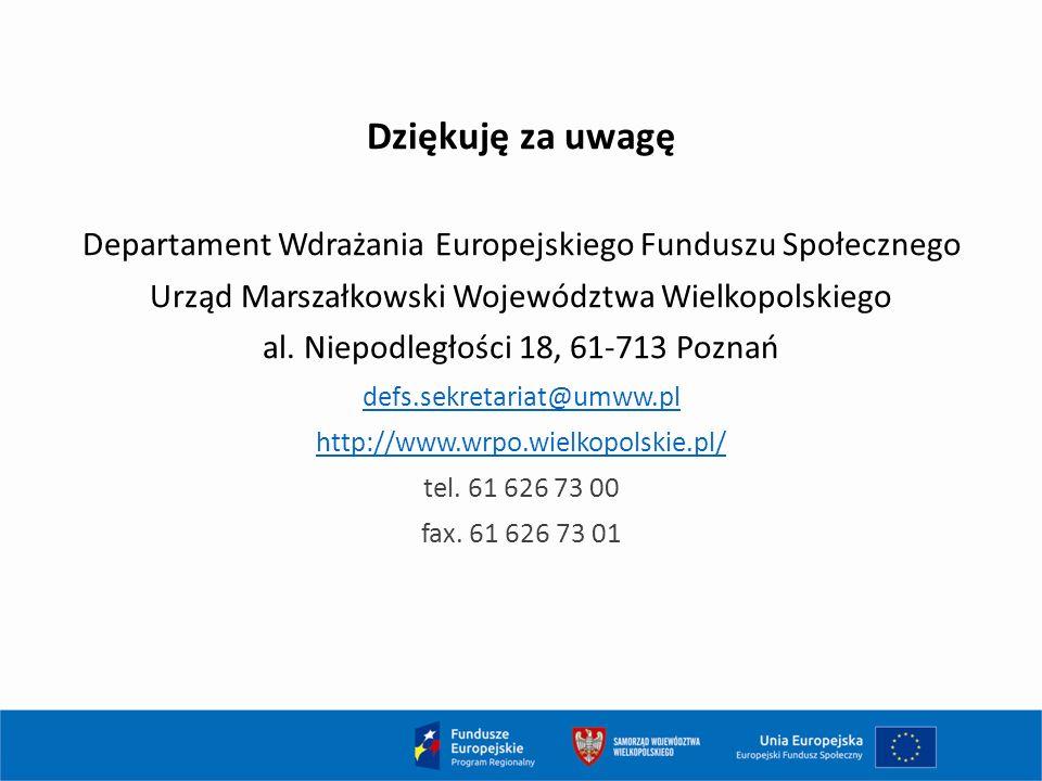Dziękuję za uwagę Departament Wdrażania Europejskiego Funduszu Społecznego Urząd Marszałkowski Województwa Wielkopolskiego al.