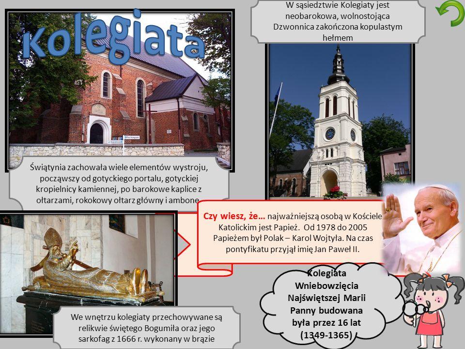 Świątynia zachowała wiele elementów wystroju, począwszy od gotyckiego portalu, gotyckiej kropielnicy kamiennej, po barokowe kaplice z ołtarzami, rokokowy ołtarz główny i ambonę.