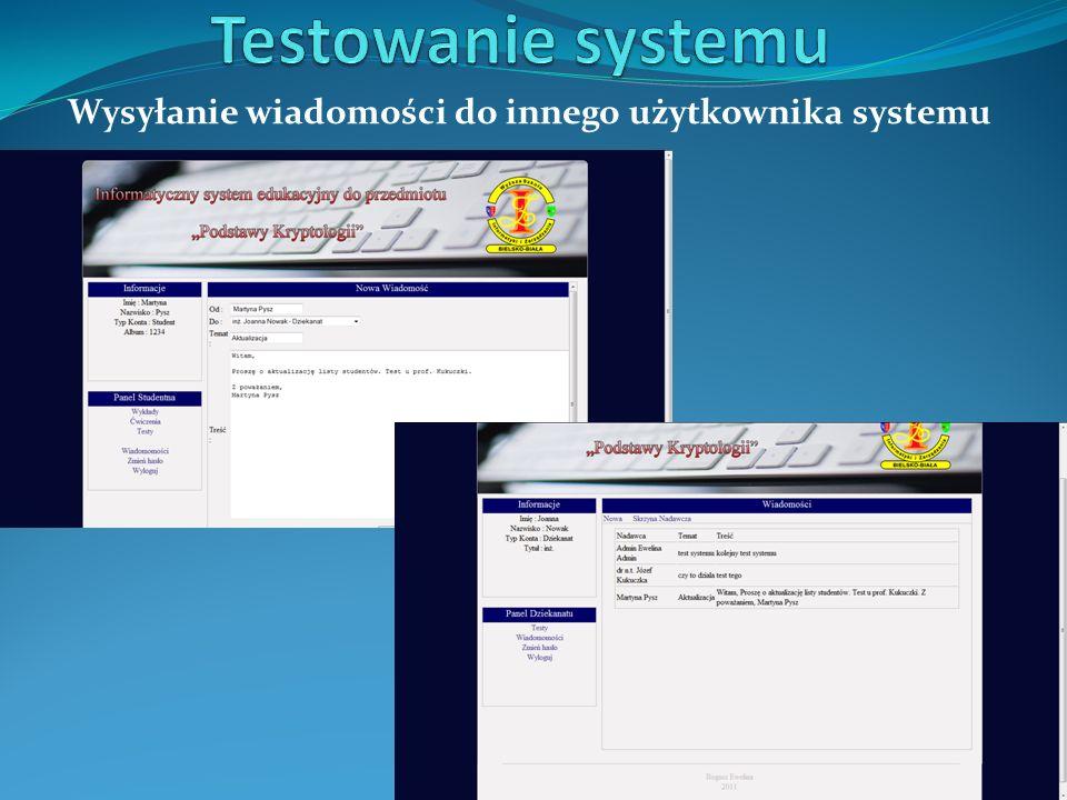 Wysyłanie wiadomości do innego użytkownika systemu