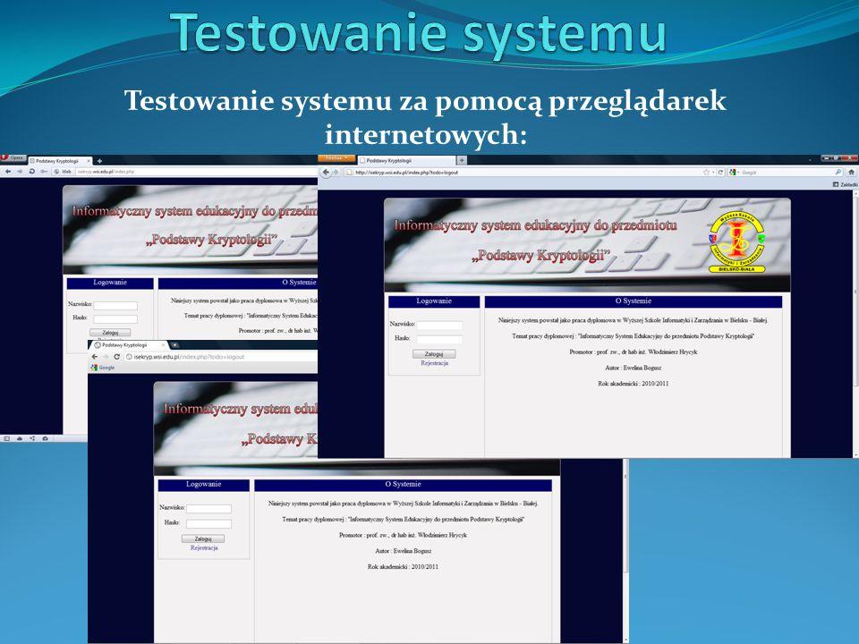 Testowanie systemu za pomocą przeglądarek internetowych: