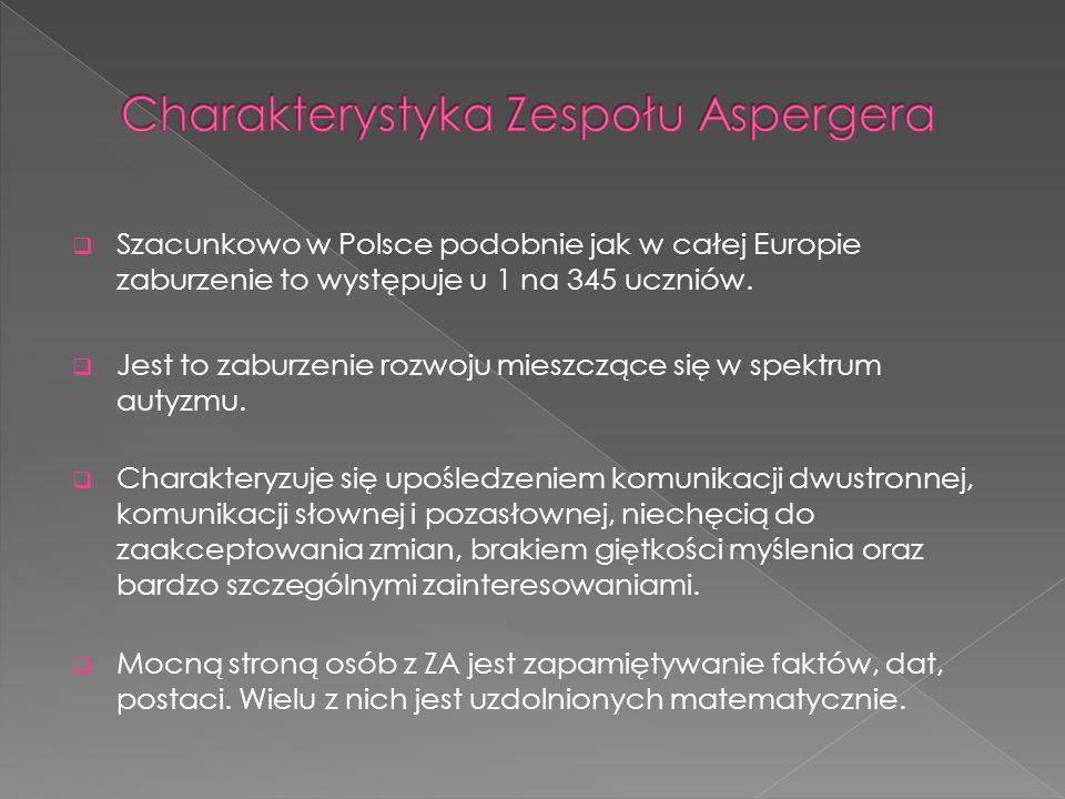  Szacunkowo w Polsce podobnie jak w całej Europie zaburzenie to występuje u 1 na 345 uczniów.  Jest to zaburzenie rozwoju mieszczące się w spektrum