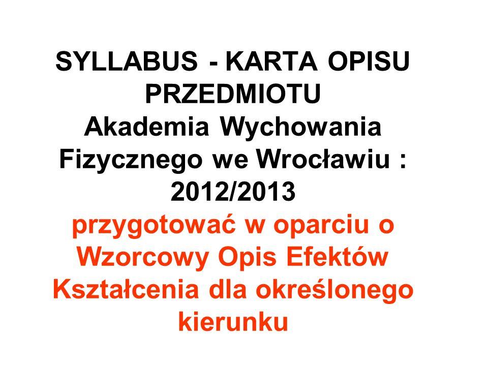 SYLLABUS - KARTA OPISU PRZEDMIOTU Akademia Wychowania Fizycznego we Wrocławiu : 2012/2013 przygotować w oparciu o Wzorcowy Opis Efektów Kształcenia dla określonego kierunku