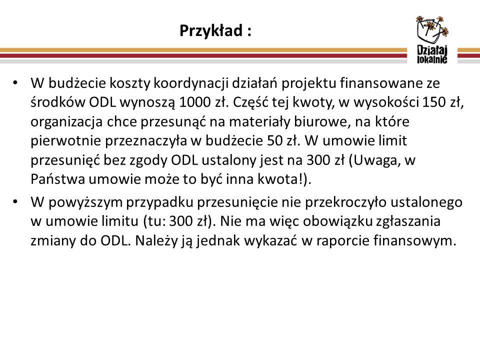 Przykład : W budżecie koszty koordynacji działań projektu finansowane ze środków ODL wynoszą 1000 zł. Część tej kwoty, w wysokości 150 zł, organizacja