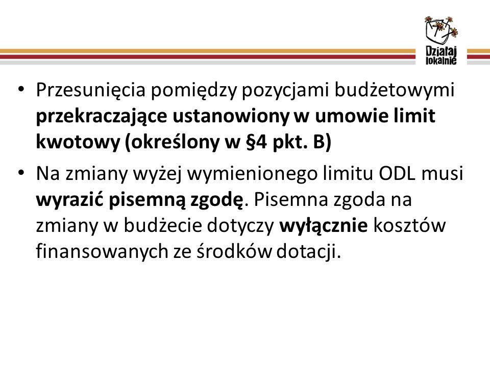Przesunięcia pomiędzy pozycjami budżetowymi przekraczające ustanowiony w umowie limit kwotowy (określony w §4 pkt. B) Na zmiany wyżej wymienionego lim