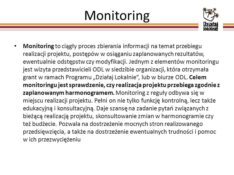 Monitoring Monitoring to ciągły proces zbierania informacji na temat przebiegu realizacji projektu, postępów w osiąganiu zaplanowanych rezultatów, ewe