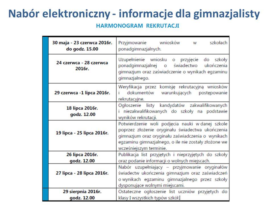 Nabór elektroniczny - informacje dla gimnazjalisty