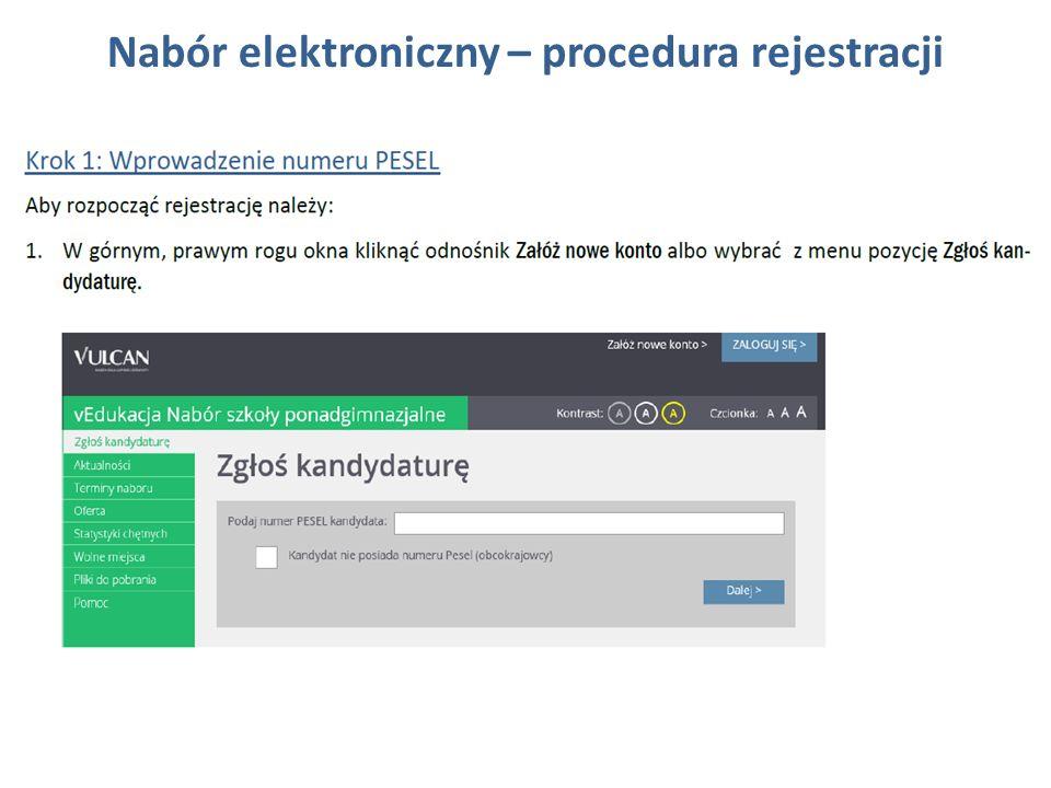 Nabór elektroniczny – procedura rejestracji