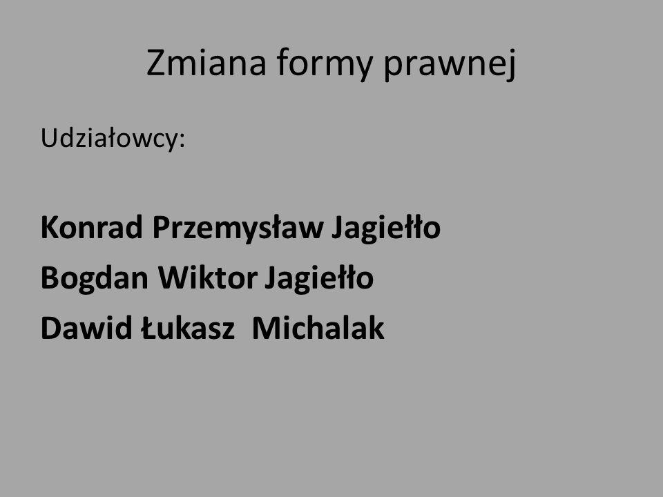 Zmiana formy prawnej Udziałowcy: Konrad Przemysław Jagiełło Bogdan Wiktor Jagiełło Dawid Łukasz Michalak