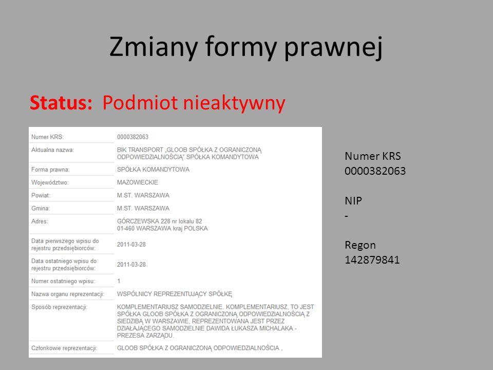 Zmiany formy prawnej Status: Podmiot nieaktywny Numer KRS 0000382063 NIP - Regon 142879841