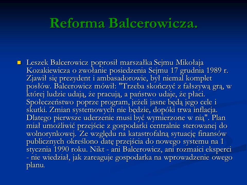Reforma Balcerowicza.
