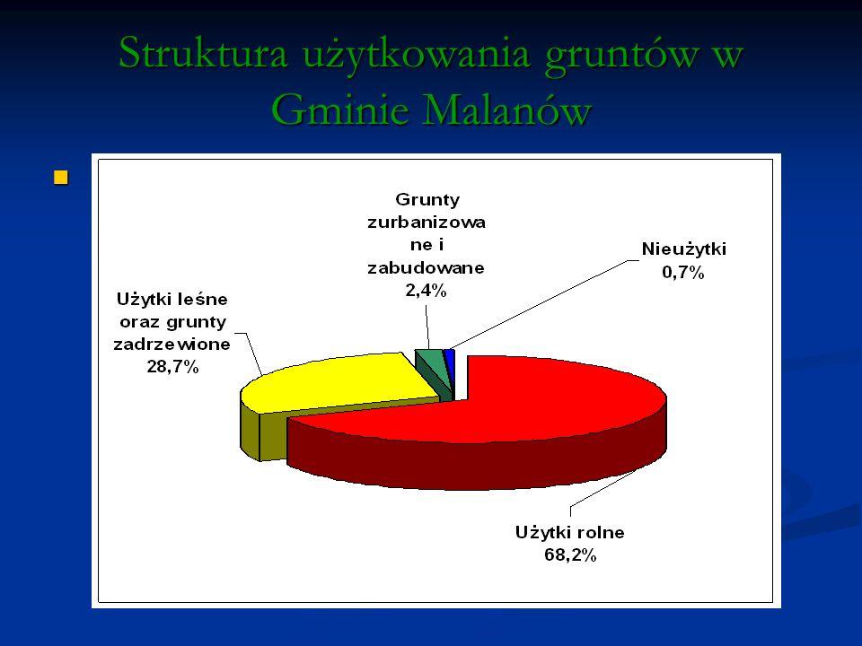 Struktura użytkowania gruntów w Gminie Malanów
