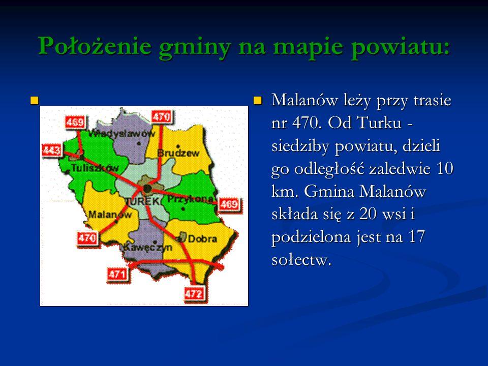 Położenie gminy na mapie powiatu: Malanów leży przy trasie nr 470.