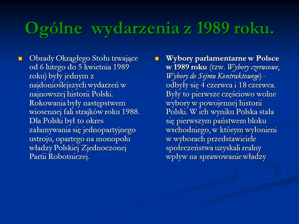 Ogólne wydarzenia z 1989 roku.