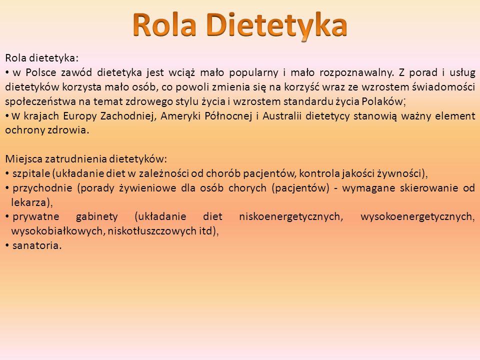 Rola dietetyka: w Polsce zawód dietetyka jest wciąż mało popularny i mało rozpoznawalny. Z porad i usług dietetyków korzysta mało osób, co powoli zmie