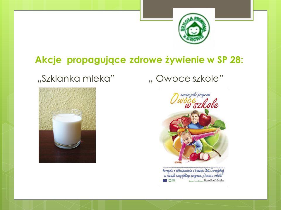 """Akcje propagujące zdrowe żywienie w SP 28: """"Szklanka mleka """" Owoce szkole"""