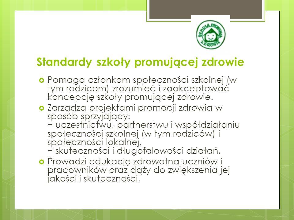 Standardy szkoły promującej zdrowie  Tworzy klimat społeczny sprzyjający: − satysfakcji z nauki i pracy w szkole, osiąganiu sukcesów oraz wzmacnianiu poczucia własnej wartości u uczniów i pracowników, − zdrowiu i rozwojowi uczniów i pracowników, − uczestnictwu, partnerstwu i współdziałaniu członków społeczności szkolnej, rodziców i osób ze społeczności lokalnej.