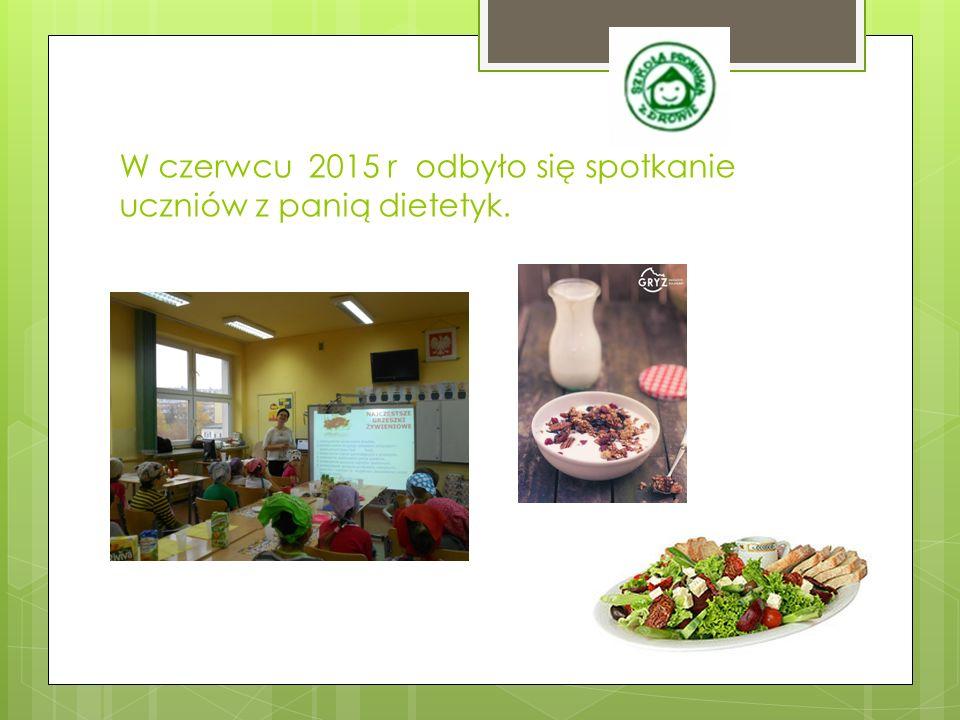 W czerwcu 2015 r odbyło się spotkanie uczniów z panią dietetyk.
