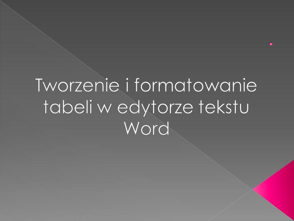  Cele operacyjne:  Uczeń:   doskonali:   · zasady tworzenia tabeli;  · sposoby formatowania tekstu w programie Word;  · umiejętność wyrównania tekstu;   nabywa:   · umiejętność sprawnego poruszania się między komórkami tabeli;  · umiejętność zaznaczania komórki, wiersza i kolumny;  · umiejętność dodawania i usuwania wierszy i kolumn w tabeli;  · umiejętność scalania komórki;  · umiejętność obramowania i formatowania tabeli;  · umiejętność wyrównania tekstu w komórce;