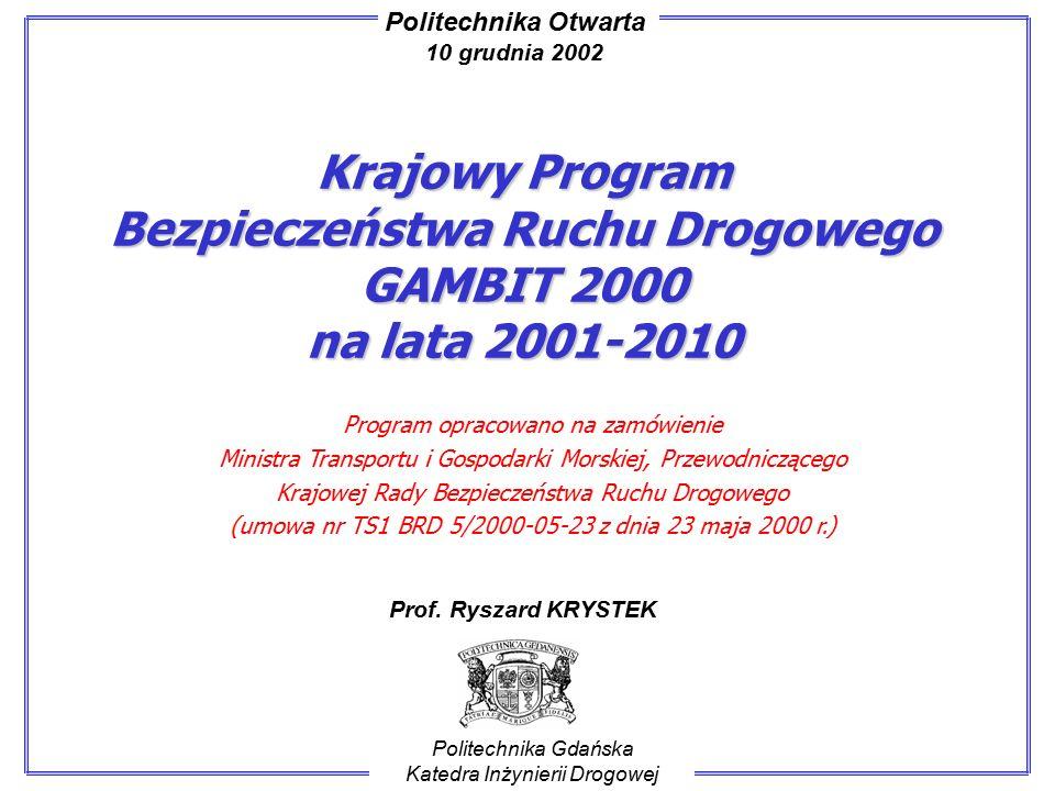 Krajowy Program Bezpieczeństwa Ruchu Drogowego GAMBIT 2000 na lata 2001-2010 Politechnika Gdańska Katedra Inżynierii Drogowej Prof.