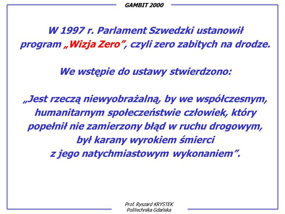 Prof. Ryszard KRYSTEK Politechnika Gdańska GAMBIT 2000 W 1997 r.