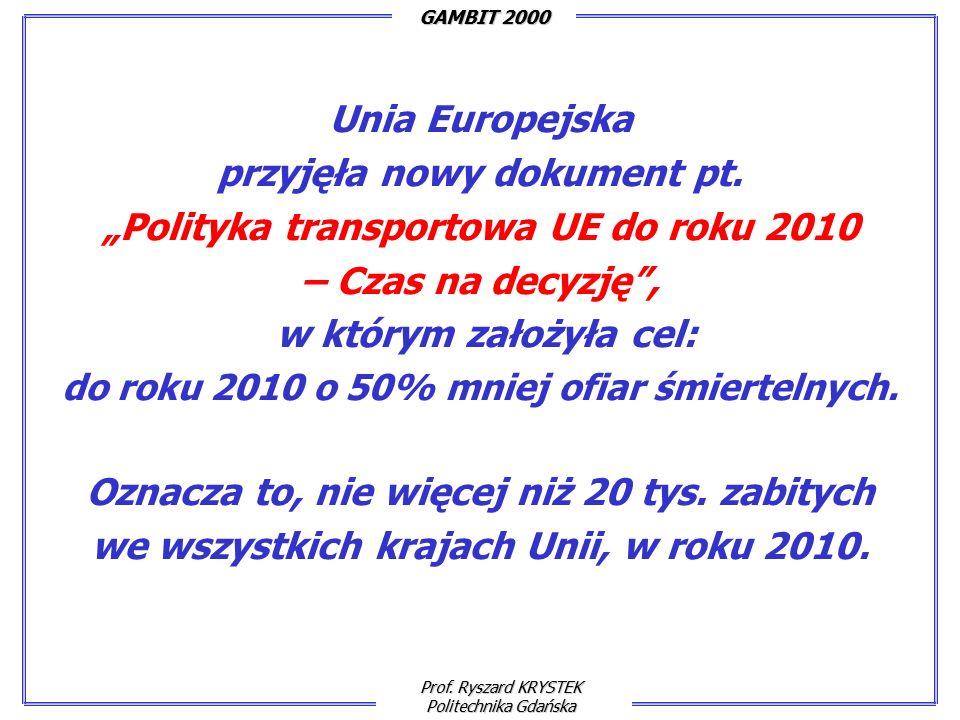 Prof. Ryszard KRYSTEK Politechnika Gdańska GAMBIT 2000 Unia Europejska przyjęła nowy dokument pt.