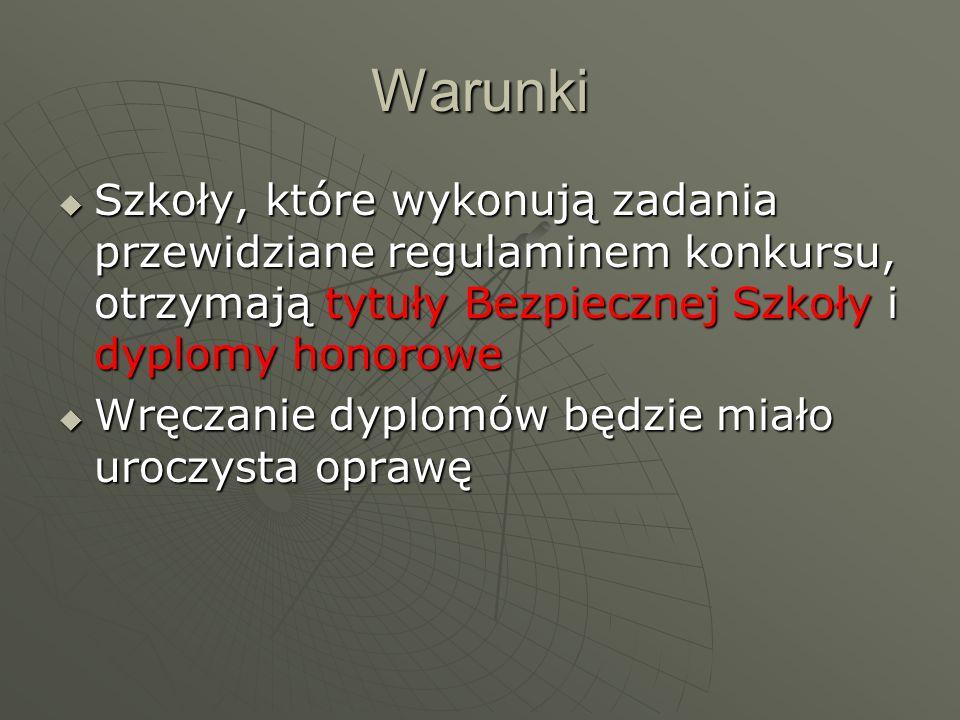 Cel konkursu: Spopularyzowanie wśród uczniów w całej Polsce podstawowych zasad funkcjonowania państwa prawnego i społeczeństwa obywatelskiego, w tym: norm współżycia, poszanowania praw jednostki w tym ucznia – obywatela, przeciwdziałanie patologiom tolerancji wobec ludzi o odmiennej kulturze, rasie, obyczajach, solidaryzmu społecznego podniesieniu poziomu bezpieczeństwa szkół i uczniów