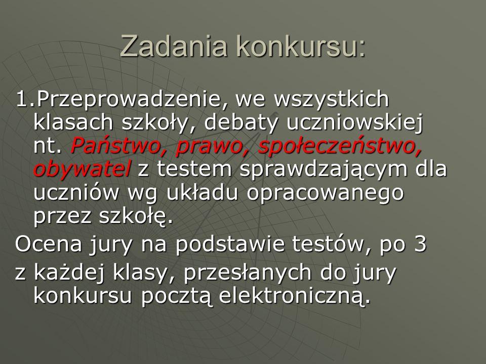 Zadanie nr 2  2.Przeprowadzenie szkolnego konkursu nt.