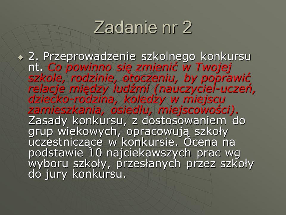 Zadanie nr 2  2. Przeprowadzenie szkolnego konkursu nt.