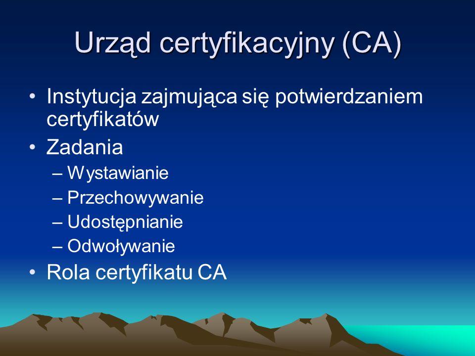 Procedura certyfikacji Kwalifikowany podmiot świadczący usługi certyfikacyjne Podmiot występujący o kwalifikowany certyfikat Pisemna umowa Lista wydanych certyfikatów Lista zawieszonych certyfikatów Lista unieważnionych certyfikatów Notarialne poświadczenie tożsamości występującego o certyfikat Zabezpieczony zbiór dokumentów związanych ze świadczeniem usług certyfikacyjnych Polityka certyfikacji Warunki użycia certyfikatu Pisemna zgoda na stosowanie danych zawartych w certyfikacie do weryfikacji podpisu elektronicznego Pisemne potwierdzenie zapoznania się z warunkami użycia certyfikatu Kwalifikowany certyfikat