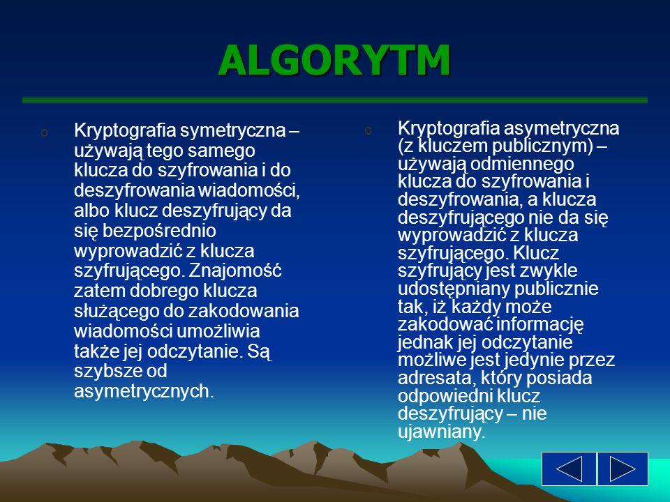 Kryptografia Symetryczna Asymetryczna Szyfrowanie Podpisywanie Weryfikacja podpisu