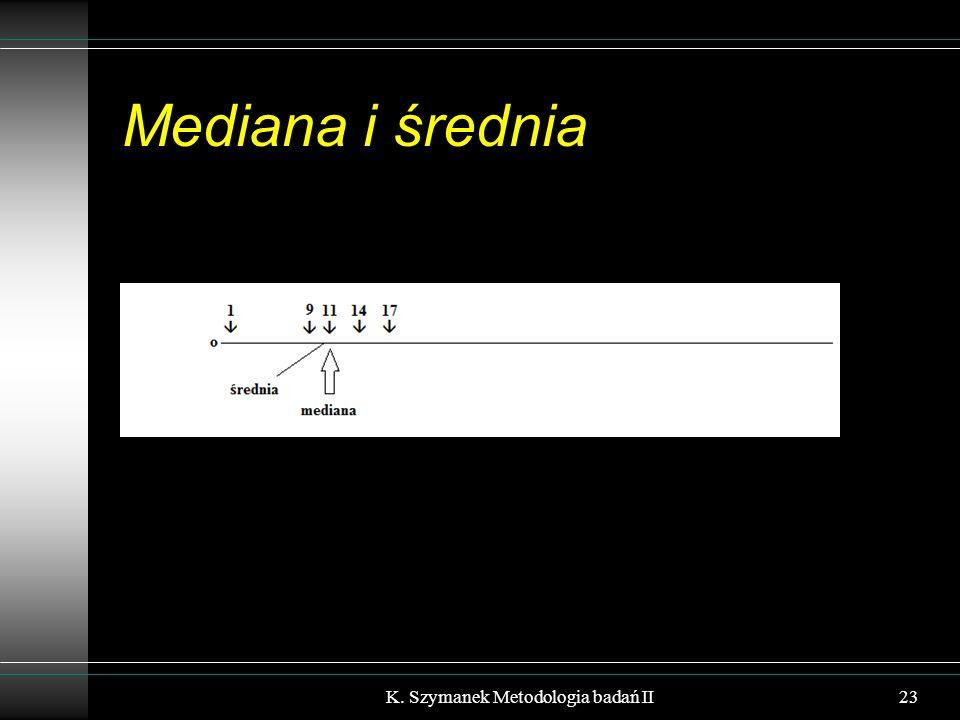 Mediana i średnia 23K. Szymanek Metodologia badań II