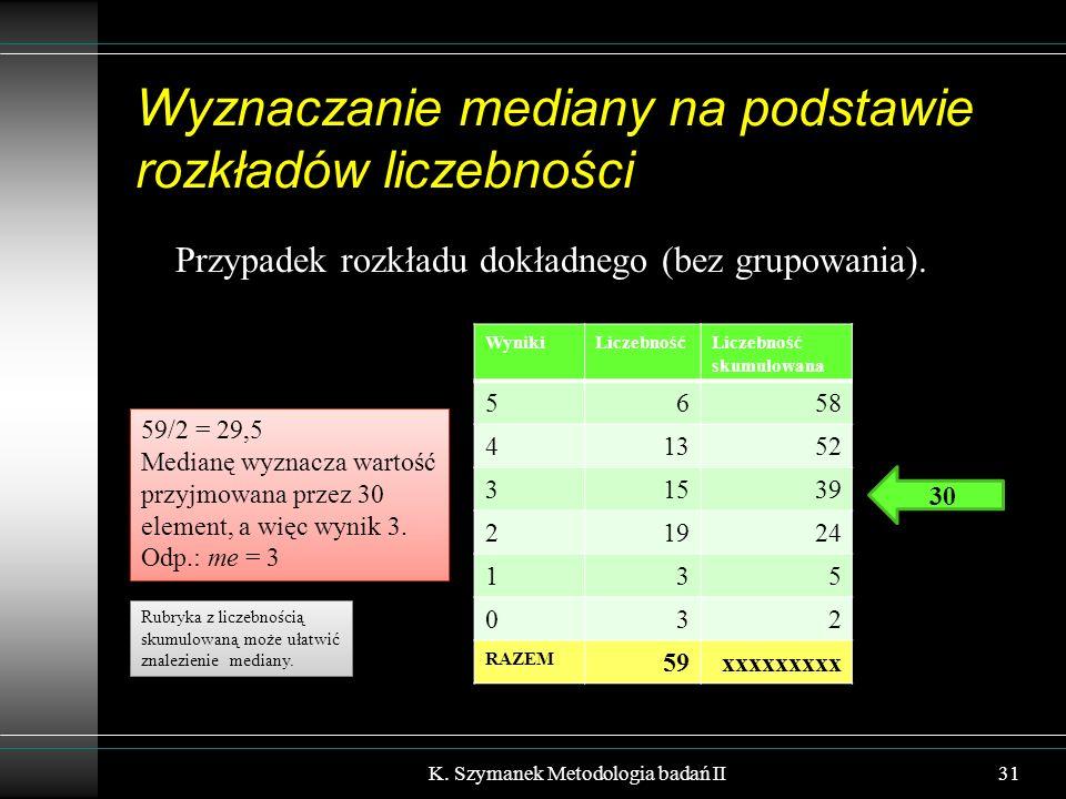 Wyznaczanie mediany na podstawie rozkładów liczebności Przypadek rozkładu dokładnego (bez grupowania). K. Szymanek Metodologia badań II31 WynikiLiczeb