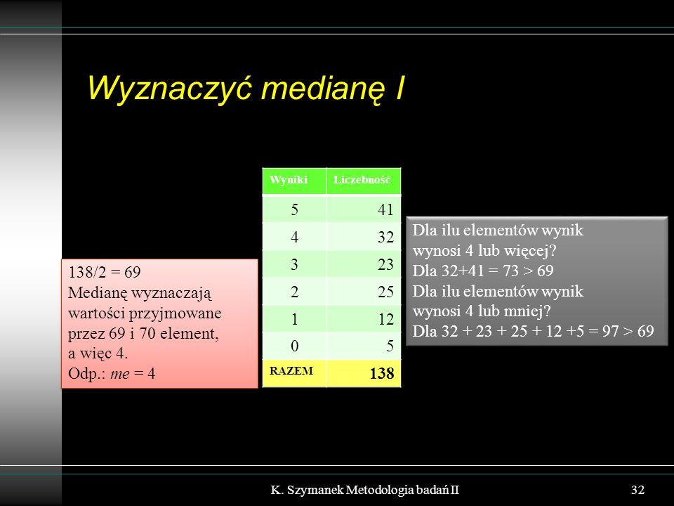 Wyznaczyć medianę I K. Szymanek Metodologia badań II32 WynikiLiczebność 541 432 323 225 112 05 RAZEM 138 138/2 = 69 Medianę wyznaczają wartości przyjm