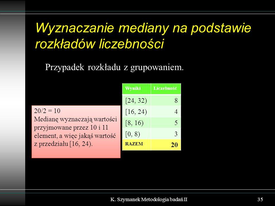 Wyznaczanie mediany na podstawie rozkładów liczebności Przypadek rozkładu z grupowaniem. K. Szymanek Metodologia badań II35 WynikiLiczebność [24, 32)8