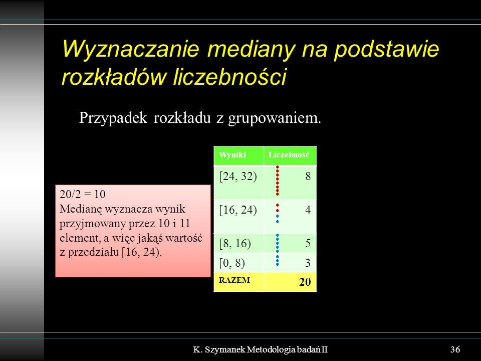 Wyznaczanie mediany na podstawie rozkładów liczebności Przypadek rozkładu z grupowaniem. K. Szymanek Metodologia badań II36 WynikiLiczebność [24, 32)8