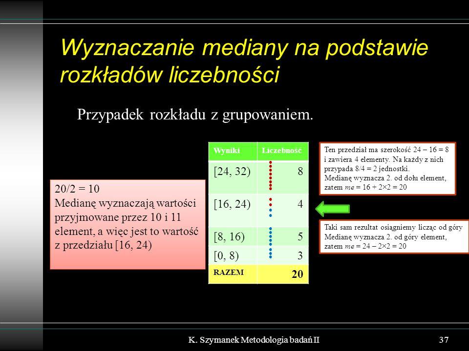Wyznaczanie mediany na podstawie rozkładów liczebności Przypadek rozkładu z grupowaniem. K. Szymanek Metodologia badań II37 WynikiLiczebność [24, 32)8