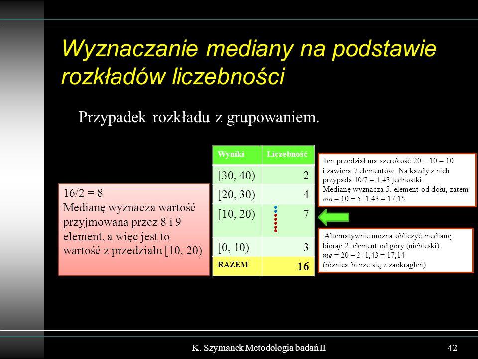 Wyznaczanie mediany na podstawie rozkładów liczebności Przypadek rozkładu z grupowaniem. K. Szymanek Metodologia badań II42 WynikiLiczebność [30, 40)2