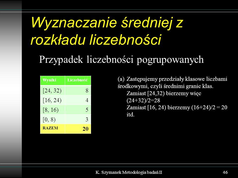 Wyznaczanie średniej z rozkładu liczebności Przypadek liczebności pogrupowanych K. Szymanek Metodologia badań II46 WynikiLiczebność [24, 32)8 [16, 24)